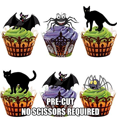 Vorgeschnittene Halloween Katzen Spinnen Fledermäuse Mix - Essbare Cupcake Topper / Kuchendekorationen (12 Stück)