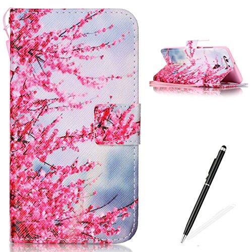 Feeltech Hülle für Huawei P9 Weich Magnet PU Brieftasche Elegant Kartenfach Extra Dünn Schutzhülle Bunte ReLife MusterKarte Halterung Klapp Ledertasche - Zwetschge Blüte