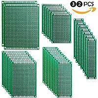 [Sponsorizzato]Elegoo 32 pezzi 2X8 3X7 4X6 5X7 7X9CM Scheda Prototipo Double Side PCB Prototype Universale Printed Circuit Board Compatibile con Arduino Millefori