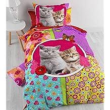 Aminata Kids – bunte Bettwäsche 135x200 cm Kinder Mädchen Katze Tiere Baumwolle Reißverschluss Wendebettwäsche Blumen Blümchen Schmetterling Herz Fotodruck Kinderbettwäsche Bettwäscheset Bettbezug