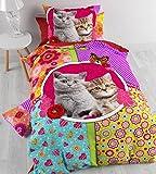 Aminata Kids – bunte Bettwäsche 135x200 cm Kinder Mädchen Katze