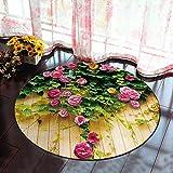 Morbuy Runder Teppich Innenbereich 3D Flur Teppich Wohnzimmer Fussabstreifer Rutschfest und Waschbar Praktische Fußabtreter (100cm, Rose)