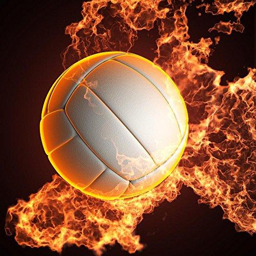 Pitaara Box PB Volleyball Ball in Fire Peel & Stick Vinyl Wall Sticker 18 x 18inch