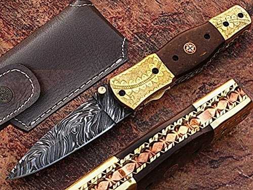"HANDMADE DAMASCUS STEEL 7.3"" FOLDING POCKET KNIFE WITH CANADIAN MICARTA WOOD AND ENGRAVED BRASS BOLSTERS WITH MOSAIC PIN HANDLE(BDM-55)"