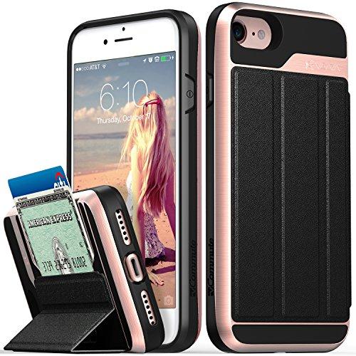 iPhone 8Wallet Case, iPhone 7Wallet Case, VENA [vcommute] [Military Grade Drop Schutz] Flip Leder Cover Kartenhalter mit ausklappbarem Ständer für iPhone 8, iPhone 7(Space Grau/Schwarz) Rose Gold / Schwarz