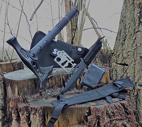 *3er SWAT Set* tactical Hammer-Hawk Tomahawk Kommando Typ M48 SWAT/FBI Axt-Beil-Messer + 22cm Outdoor tactical Paracord Messer + 12in1 Survival-Card (Wurfmesser Paracord)