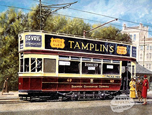 La Rouille Pommes Metal Sign Co Brighton Vintage Trolley Bus Original Peinture Plaque en métal