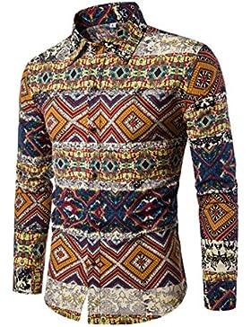 Haroty Uomo Camicie a Maniche Lunghe Taglie Forti Moda Men Shirts Slim Fit Casual Fashion Stile Etnico Stampate