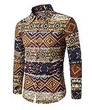 Haroty Herren Hemd Slim Fit Langarm Oversize Männer Ethno Print Bunt Shirt Langarmhemd (L, CS 4)