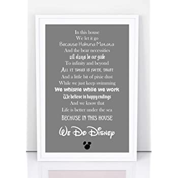in this house disney quote family a4 glossy print poster