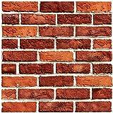 Beyond Deko Fliesenaufkleber 3D Steinwandoptik Wandaufkleber 30 x 30 cm, 6er-Set, Selbstklebend, Red Brick 510