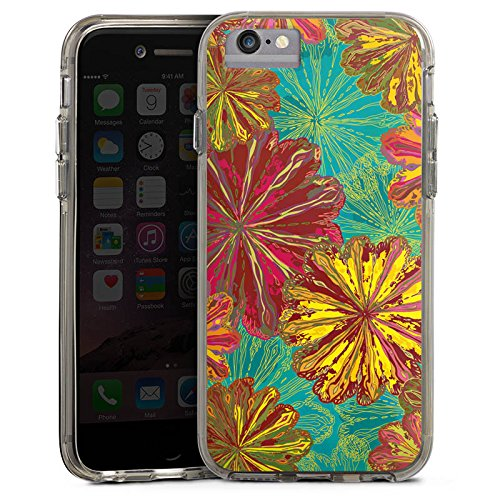 Apple iPhone X Bumper Hülle Bumper Case Glitzer Hülle Autumn Herbst Flowers Bumper Case transparent grau