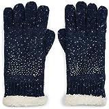 styleBREAKER warme Handschuhe mit Strass und Fleece, Winter Strickhandschuhe, Damen 09010010, Farbe:Dunkelblau meliert (One Size)