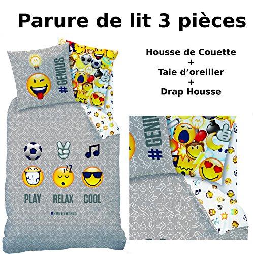 EMOJI EMOTICONS - Parure de lit (3pcs) - Housse de Couette (140x200) + Taie d'Oreiller (63x63) + Drap housse (90x190) - 100% Coton - Smiley