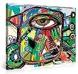Premium Kunstdruck Wand-Bild – Doodle Parrot - 100x75cm - Leinwand-Druck in deutscher Marken-Qualität – Leinwand-Bilder auf Holz-Keilrahmen als moderne Wanddekoration