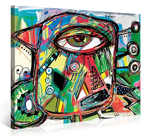 Premium Kunstdruck Wand-Bild - Doodle Parrot - 100x75cm - Leinwand-Druck in deutscher Marken-Qualität - Leinwand-Bilder auf Holz-Keilrahmen als moderne Wanddekoration - Doodle-pop-art