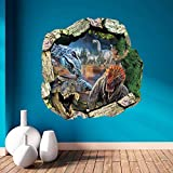 AUVS® 3D Lebendige Tiere- Selbstklebende Abnehmbaren Durchbrechen Die Mauer Vinyl Wandsticker / Wandgemälde Kunst Aufkleber Dekorateur (1439 Dinosaurier (50 x 50 cm))