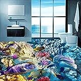 Papier Peint Papier peint de mur de photo de l'océan 3D d'actualité 3D papier peint de plancher de corail de dauphin 3D pour la salle de bains d'hôtel PVC auto,adhésif imperméable,1 m2...