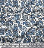 Soimoi Blau Baumwolljersey Stoff Paisley & Blumen kunstlerisch gedruckt Craft Fabric 1 Meter 58 Zoll breit