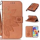 Linvei PU Leder Flip Case Handyhülle Schutzhülle für Samsung Galaxy S5 mini Hülle,[Wallet Cover][StandFunktion][Kreditkarte ID Card Slots][Magnetverschluss] für Samsung Galaxy S5 mini -Brown Blume