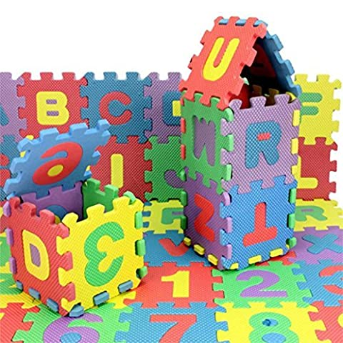 EVA Foam Interlocking LETTERS & NUMBERS Puzzle Mat Activity Play Kids Soft Tiles Set For Ages 3+ (36