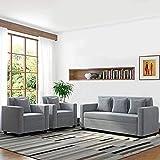 CasaStyle - Lexas Fabric 5 Seater Sofa Set 3+1+1 (Light Grey) | Modern Sofa Sets & Designer Furniture I 32 Density Soft…