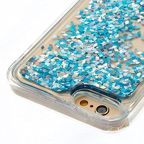 iPhone 6 Coque Liquide, iPhone 6S Cover Silicone, SainCat Ultra Slim Transparent TPU Silicone Case pour iPhone 6/6S, Anti-Scratch Liquid Crystal Gel Housse Transparent Silicone Gel Case, Bling Glitter Silver Blue
