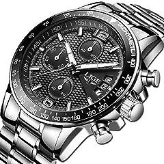 Idea Regalo - LIGE orologio da uomo acciaio inossidabile impermeabile sportivo cronografo tempo libero moda affari quarzo orologio (quadrante nero grande)