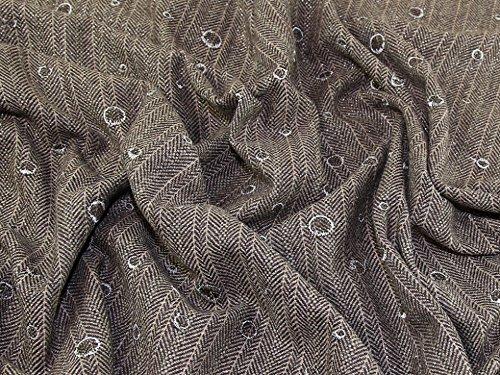 bestickt Fischgrätenmuster Wolle Beschichtung Kleid Stoff braun-Meterware (Wolle-beschichtung Stoff)