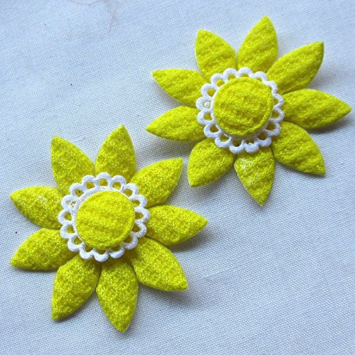 Juqian 40 mm Paded feltro girasole Appliques Mestiere mix 60PCS (Imbottito Applique Craft)