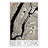 artboxONE Poster 30x20 cm Retro City Map New York von Künstler David Springmeyer
