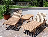 2x Hochwertige TEAK Sonnenliege Gartenliege Strandliege Liegestuhl Holzliege Holz geölt