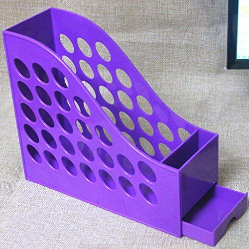 A4 File Rack Libro Stand 27 * 10 * 23 Cm Con el sostenedor de la pluma Cajón File Bar Archivo Caja Información Cestas Negro Violeta ( Color : #3 )