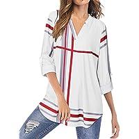 YOINS Camicia Donna Elegante Camicetta Donna Manica Lunga Bluse Camicie a Quadri Blusa Scollo V Casuale