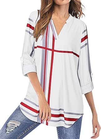 YOINS Camicia Donna Elegante Camicetta Donna Manica Corta Bluse Camicie a Quadri Blusa Scollo V Casuale