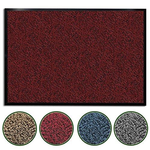 casa pura® Premium Fußmatte für Eingangsbereiche | Schmutzfangmatte in 6 Größen | rot - meliert | 60x90cm