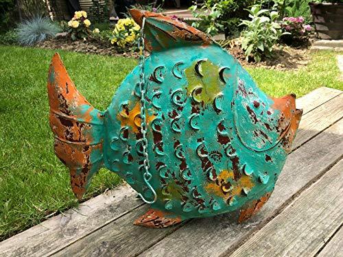 E-X Fisch Windlicht Laterne Skulptur Gartendeko Figur maritim Metall Handarbeit - Fisch-laterne