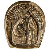 Weihnachtskrippe Bronze - Krippe Weihnachtsszene modern 8,7x7,7cm