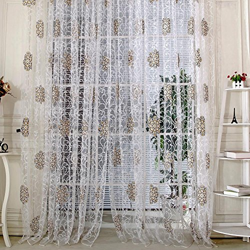 demiawaking Sheer paneles de cortina, Voile Mandala flores cortinas con ojales cortinas de tul balcón cortina de ventana para dormitorio salón sala de estudio y decoración del hogar
