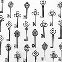 LolliBeads (TM) Mixed Set of 30 Large Skeleton Keys in Black - Set of 30 Keys