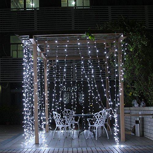 crownroyaljack 3m 300 LED Weihnachten Icicle Lichter Fenster Vorhang String Licht für Hochzeit Home Garten Schlafzimmer Outdoor Indoor Wandschmuck, Weiß - Outdoor Icicle