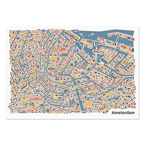 Amsterdam Poster (100x70cm) - Stadtplan Plakat Kunstdruck bunt querformat mit den Sehenswürdigkeiten Grachten, Amsterdam Centraal, die Oude Kerk, das Rijksmuseum & den Vondelpark