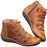 POLP Botas,Mujer Botines de Cuero Otoño Invierno Vintage Botines Mujer con Cordones Zapatos de Mujer Botas Cómodas de tacón P