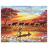 HHYSPA Angeln Mann Und Elefanten DIY Malen Nach Zahlen Kits Acrylfarbe Auf Leinwand Malen Nach Zahlen HomeWandkunstBild40X50 cm