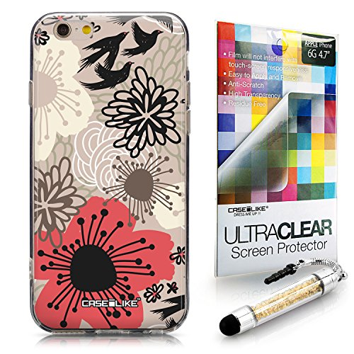 CASEiLIKE Wandschmierereien 2703 Ultra Slim Back Hart Plastik Stoßstange Hülle Cover for Apple iPhone 6 / 6S (4.7 inch) +Folie Displayschutzfolie +Eingabestift Touchstift (Zufällige Farbe) 2254