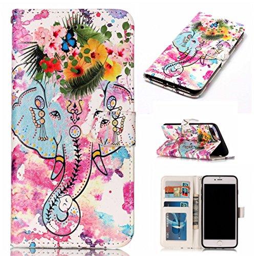 iPhone 7 Plus Coque, Voguecase Étui en cuir synthétique chic avec fonction support pratique pour Apple iPhone 7 Plus 5.5 (Motif de couleur 01)de Gratuit stylet l'écran aléatoire universelle Fleur et l'éléphant 02