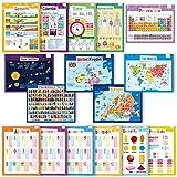 16 posters éducatifs pour enfants et enseignants - Parfait pour les chambres d'enfants et les salles de classe - Taille 43 x 56 cm