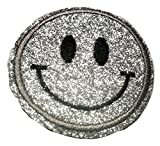 Bügel Iron on Smiley Aufnäher Patches Glitzer für Jacken Cap
