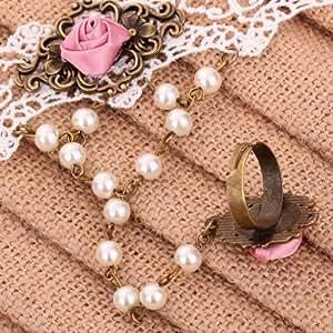 Yazilind Bijoux Noble Lolita rose Rose perles en metal blanc dentelle blanche Bracelets esclaves avec anneau