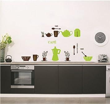 ufengke personalizzato vasellame da cucina adesivi murali teiera tazze ciotole e thermos adesivi da parete removibilistickers muralidecorazione murale